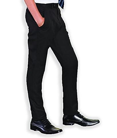 Slim Fitting Skinny Boys Black Charcoal Grey Navy Slim Leg Adjustable Waist School Trousers Pants 24