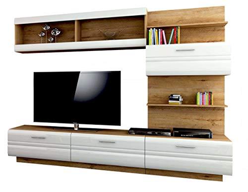 Avanti trendstore - axel - parete da soggiorno in legno truciolato con 4 porte a ribalto e 5 vani aperti, colore quercia lefkas/bianco lucido. dimensioni lap 226x169x43 cm