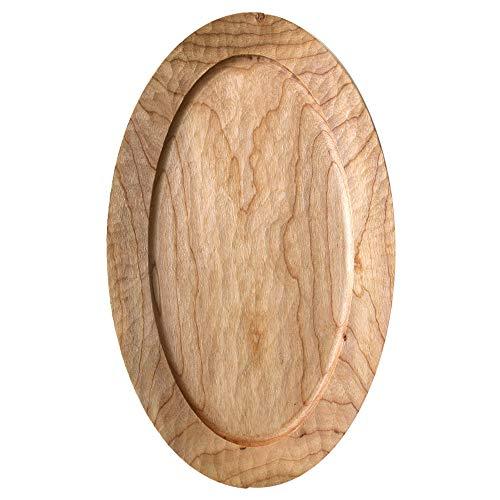 xgvvb Handgefertigtes elliptisches Tablett aus ganzem Holz handgeschnitztes Backblech Kirschbaum 1 18 × 30 -