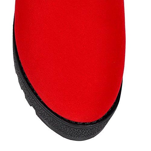 Mulheres Baixo Salto Do Allhqfashion Vermelha Pura Dedo Do Apontou Alto Bota Pé Ao Redor r4rqRW8v
