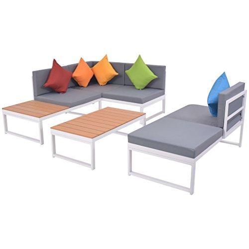 Festnight set 19 pz divano angolare moderno e tavolo basso rettangolare con cuscini devorativi da giardino/patio/balcone/piscina per esterno in alluminio e wpc