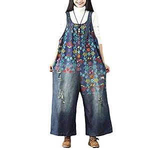 YuanDian Damen Denim Latzhose Weites Bein Drucken Große Größen Overalls Latzjeans Strampler Jeans Boyfriend Loose Fit Mutterschaft übergroße Jumpsuits Hose