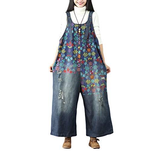 YuanDian Damen Denim Latzhose Weites Bein Drucken Große Größen Overalls Latzjeans Strampler Jeans Boyfriend Loose Fit Mutterschaft übergroße Jumpsuits Hose 1# Dunkelblau