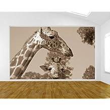 "Bilderdepot24 Fotomural ""Madre y bebé jirafa - sephia"" 100x65 cm - Papel tejido-no tejido. Fotomurales - Papel pintado - la fabricación made in Germany!"
