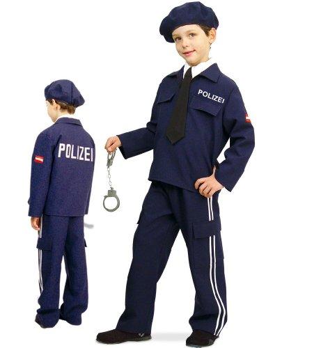 Polizei Austria 2tlg mit Mütze u Krawatte Polizist Jungen Kinder Kostüm Gr 140