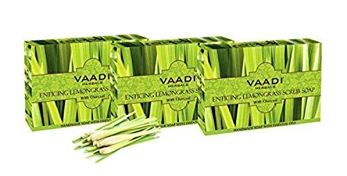 Vaadi Herbals Wert Enticing Zitronengras Scrub Seife, 3 x 75 g - (Verpackung können variieren) - Kräuter-zitronengras Shampoo