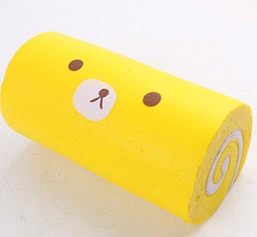 kingken Funny Swiss Rolle Squishy Plüschtiere, PU, gelb, 15*8cm (Squishy-kuchen-roll)
