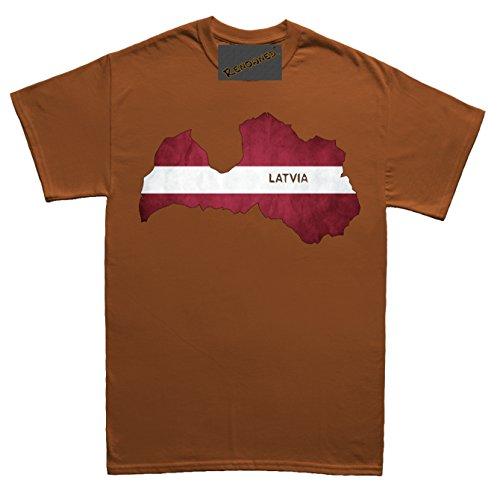 Renowned Latvia Flag Grunge Map Unisex - Kinder T Shirt Braun