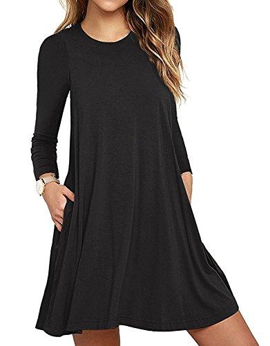 Damen Casual Sommerkleid Lose T-Shirt Kleid Nachthemden knielang Strandkleid Nachtkleid A-Linie Kleider (S, Langarm Schwarz) (Schöne Kleid Baumwolle)