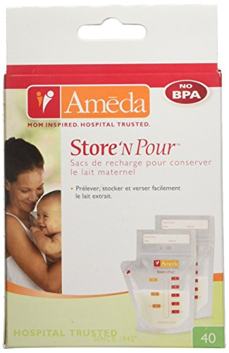 Ameda Store N Pour Breast Milk Storage Bags, 40-Count by Ameda (English Manual)