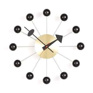 Vitra 20125006 Ball Clock Orologio Ø 330 cm in ottone, meccanismo al quarzo, inclusa pila 1,5 V, colore: Nero