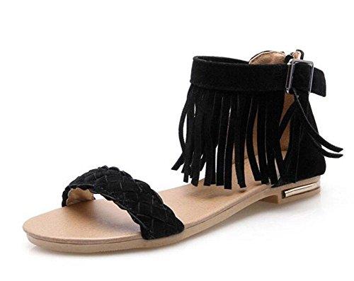 GLTER Frauen Peep Toe Sandalen Matte Suede Gürtelschnalle Quaste Flat Large Größe 40-43 Sandalen Black