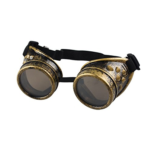 Gafas Vintage Steampunk para Mujer & Hombre, LILICAT® Gafas Góticas Punk de Soldadura Retro Gafas de Protección de Redondas, Cosplay, Regalos (Talla única, Dorado)