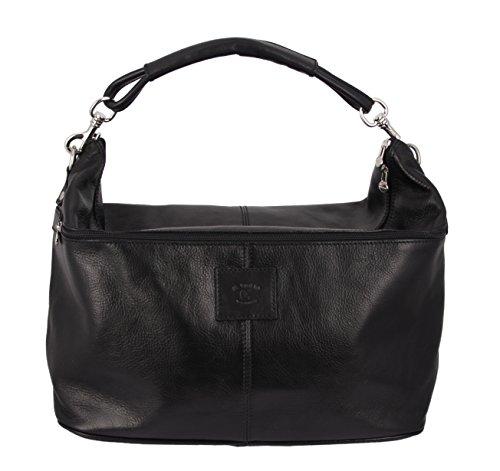 SLINGBAG Pascal Sporttasche/Weekender / Reisetasche aus hochwertigem und dickem Leder/Farbauswahl (Schwarz)
