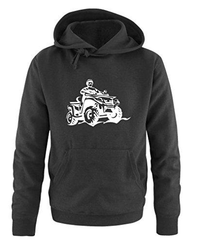Comedy Shirts - Quad ATV - Herren Hoodie - Schwarz/Weiss Gr. XL