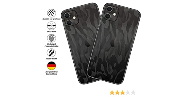Shadow Black back cover only 2x Pieces TKCase Custom Skin Wrap compatible with iPhone 11 Pro Max Shadow Black