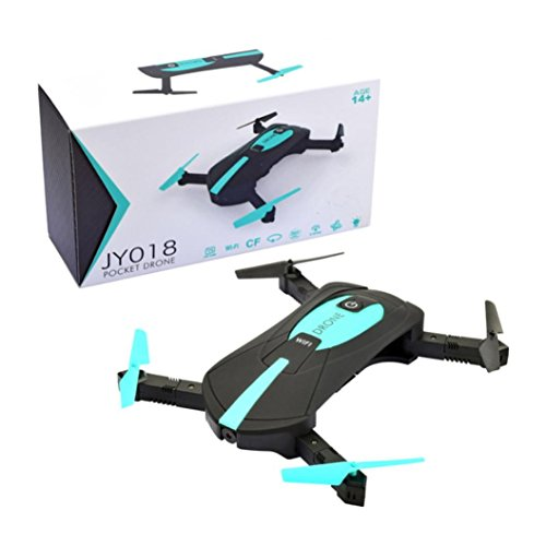 RC Quadcopter Drone HD Kamera JY018 WiFi FPV Quadcopter Mini Drone Faltbare Selfie Drones mit 720P HD Kamera Fernbedienung (Schwarz)