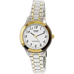CASIO 19430 LTP-1128G-7B - Reloj Señora Cuarzo Brazalete metálico dial Blanco