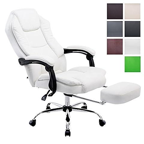 CLP Fauteuil bureau ergonomique CASTLE, fauteuil relax avec repose-pieds EXTENSIBLE et accoudoirs, poids admis 130 kg, réglable en hauteur 47 - 57 cm blanc