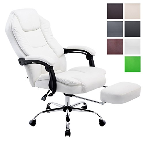 Clp poltrona presidenziale e relax castle in similpelle- sedia ergonomica imbottita, con poggiapiedi estraibile i poltrona pc regolabile in altezza e reclinabile i portata max 130 kg bianco