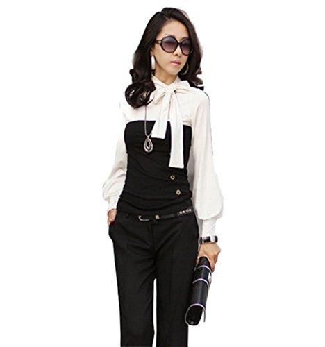 Mississhop Olimp Japan Style BOHO Style Bluse 2 in 1 Optik Tunika Longshirt Schwarz-Weiß XL
