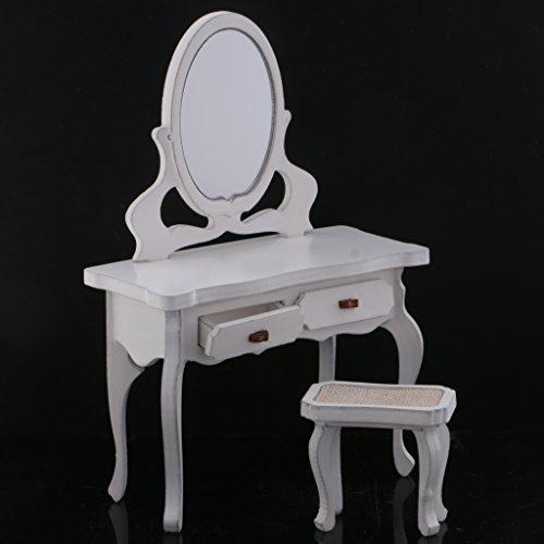 MagiDeal 1/12 Casa Bambole Miniature Disegni Mobili Set Da Letto Floreale Con Tavolo Salotto Legno