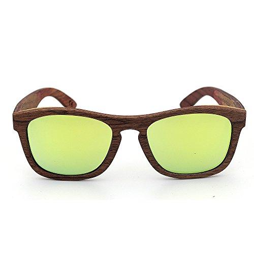 Easy Go Shopping Classic Simple Style Handcraft Holz umrandeten Sonnenbrillen Farbige Linse UV400 Schutz für Unisex-Erwachsene (Farbe : Gold)