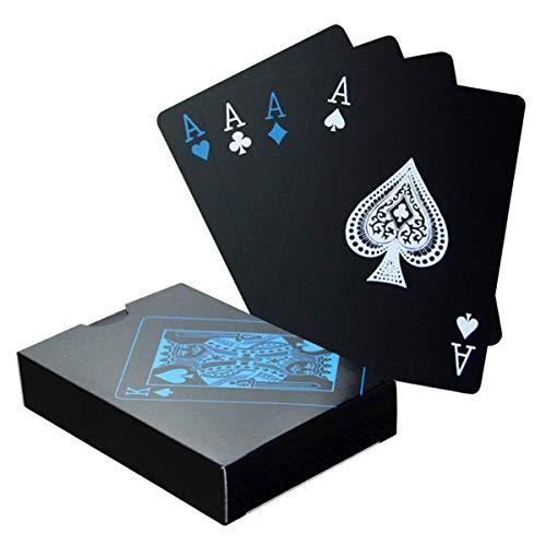 Wasserfeste Pokerkarten | Schwarze Spielkarten | Pokerkarten für den Profi | Robust | Plastik | 1 Kartendeck | 54 Karten | Pokerdeck in Premiumqualität von Tillmann's ® Deutschland
