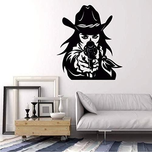 yhut Revolver Gun Cowgirl Vinyl Wandtattoo Wohnkultur wohnzimmer Kunstwand Wandaufkleber Abnehmbare 57 * 65 cm ()