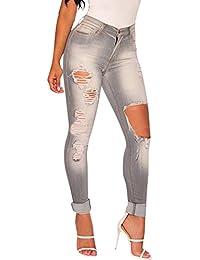 Femme Grau Pantalons en Jean Déchiré Crayon Taille Haute Mince Stretch  Leggings Skinny Jeans 4b0d4babfa5e