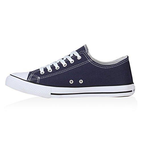Damen Sneakers Kult Sportschuhe 70862 Stoffschuhe Schnürer Gr. 36-41 Blau