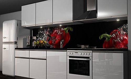 Küchenrückwand Folie selbstklebend Chillis Klebefolie in verschiedenen Größen | Fliesenspiegel | Dekofolie | Spritzschutz | Küche | Möbel-Folie