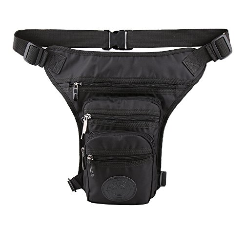 Genda 2Archer Bolso Nupcial Impermeable Unisex de la Pierna del Bumbag del Bolso de la Tapa de la Cadera (17cm * 8cm * 31cm) (Negro)