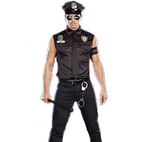 NiQiShangMao Halloween Kostüme Erwachsene Polizei Cop Officer Kostüm Top Shirt Phantasie Cosplay Kleidung für Männer (Cop Kostüm Shirt)