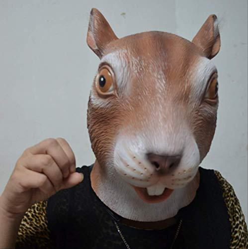 tytlmaske Reizende Eichhörnchen-Maske,Naturlatex-Halloween-Kopfbedeckung,Für Kostüm-Maskerade-Party