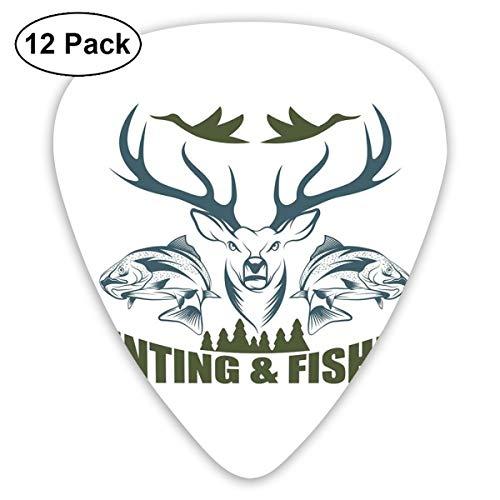 Guitar Picks 12-Pack,Artistic Emblem Moose Head Horns Trout Salmon Sea Fishes -