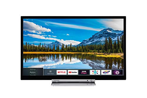 Toshiba 24D3863DB 24-Inch HD Ready Smart TV with Freeview Play and Built In DVD Player - Black/Silver (2018 Model) (Renewed)