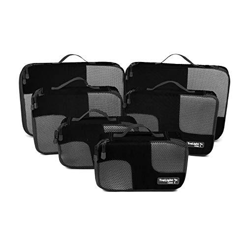 TraLight ® Packing Cubes   Packwürfel   Packtaschen   Kleidertaschen für Koffer, Reisetasche, Handgepäck, Rucksack, Sporttasche   6 teiliges Set (Schwarz)