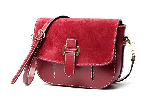 Genuine Leather Opaca Vintage Scopare Pouch Singola Spalla Crossbody Bag Per Le Donne WineRed