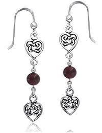 Bling Jewelry .925 Silver Garnet Celtic Knots Double Heart Drop Earrings