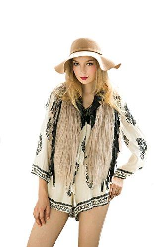 VLUNT Damen elegant Weste Fell Jacke Winter Fellweste aermellos Fellweste Faux Fur Vest Gilet Waistcoat Khaki