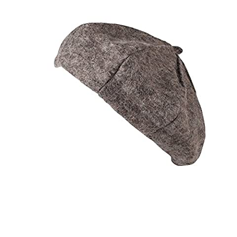 HAT086-Traditional French Style Warm Woolen Grey Beret for Fashion and Costumes