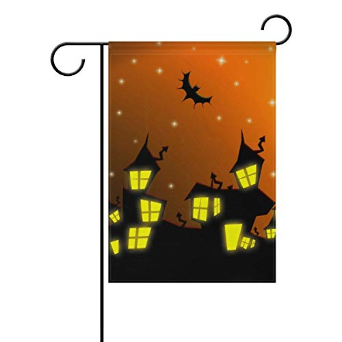 (ASKYE Halloween Castle with Bats and Moon Double Sided Polyester Garden Flag, Winter Halloween Holiday Decorative Flag for Party Yard Home Decor(Size: 28inch W X 40inch H))