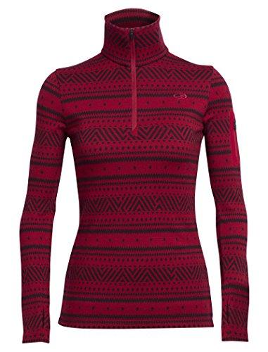 icebreaker-femmes-vertex-t-shirt-a-manches-longues-demi-zip-icone-fair-isle-couche-de-base-rouge-jet