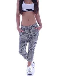 Army Camoflage Damen Capri Jeans Shorts Baggy Aladin Hose XS 34 S 36 M 38 L 40 XL 42