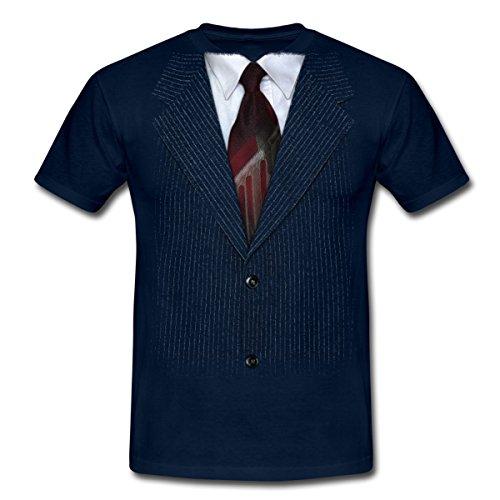 Anzug mit Krawatte Männer T-Shirt von Spreadshirt®, L, (Tshirt Kostüme Tuxedo Blau)