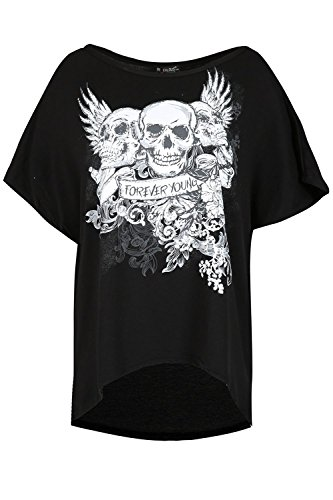 gebeult Fledermaus Hülse Übergroßen Blumen Crown Schädel Young Forever Hemd Oben (Spooky Halloween-nachrichten)