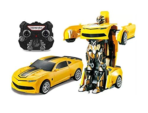 GN 2.4Ghz Transformers Robot Bumble Bee Style Remote Control RC Car with One Touch Transform Autobot 2WD Radio Controlled Drifting Car with Sound, Lights Rechargeable Radio Controlled Car