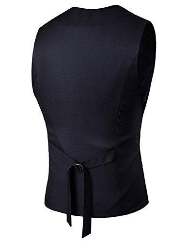 Boom Fashion Gilet Veston Veste Costume Sans Manches Slim Fit Homme mode Noir One