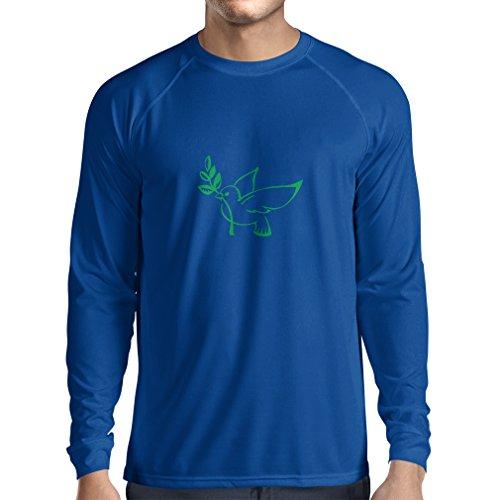 Langarm Herren t shirts Die Taube und der Ölzweig - Symbole des Friedens (Medium Blau Grün)